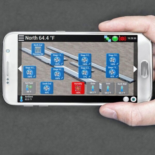 Phason AutoFlex Connerct mobile app on a cellphone.