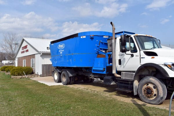 Used PATZ 2400 Series II Truck Mixer front side view.