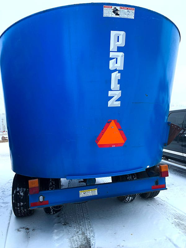 Used PATZ 500 Trailer Mixer back side view.