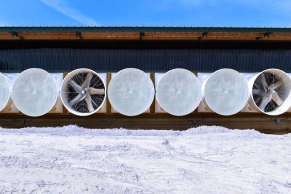 J&D Exhaust Fan Cone Covers in use in Winter.