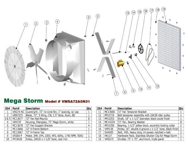 J&D Mega Storm Exhaust Fan parts diagram.