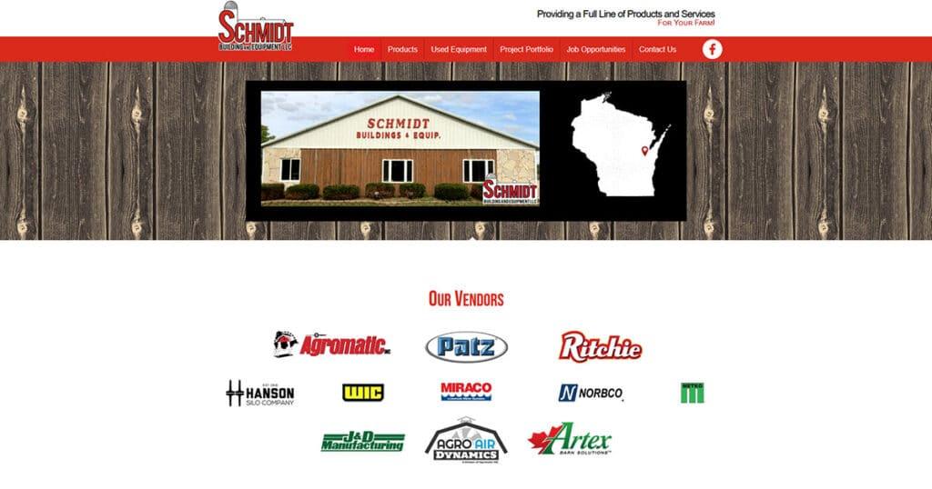 New Schmidt Building and Equipment website (April 2021).